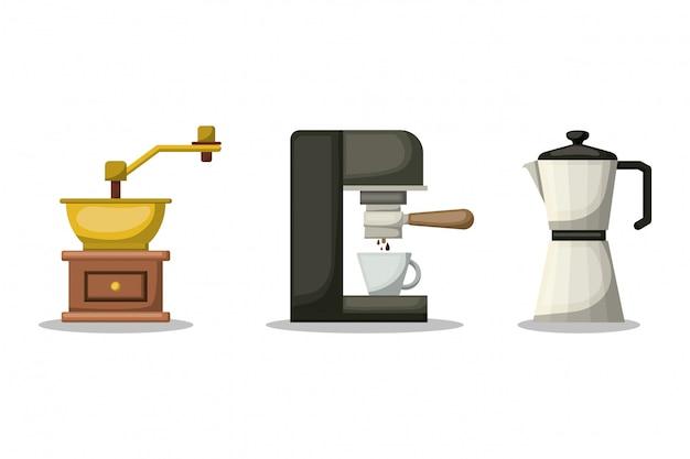 Koffiemolen machine en waterkoker ontwerp, drinken ontbijt drank bakkerij restaurant en winkel thema vectorillustratie