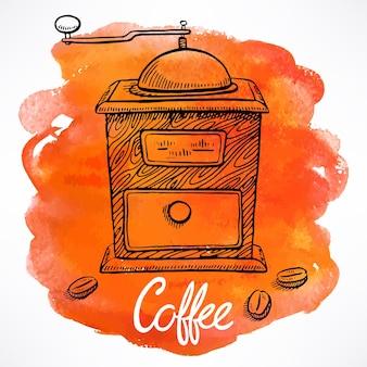 Koffiemolen op de achtergrond van aquarelvlekken. handgetekende illustratie