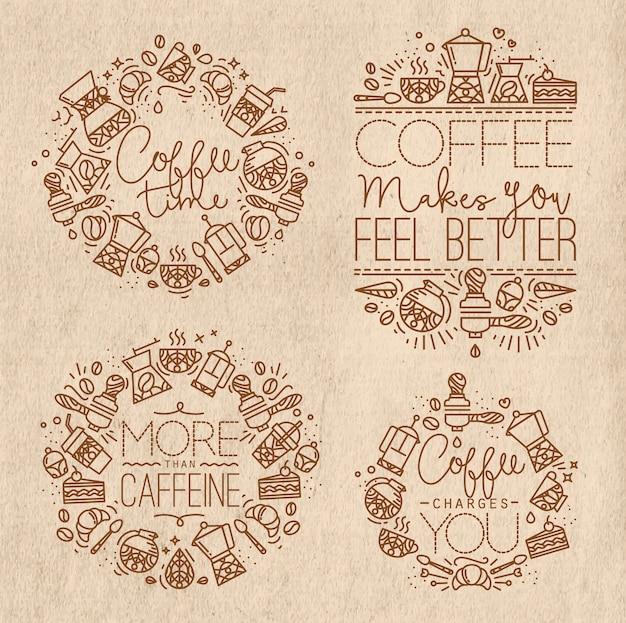 Koffiemonogrammen kraftpapier