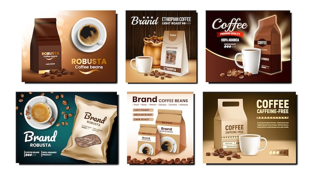 Koffiepakketten promotieposters instellen vector