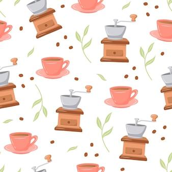 Koffiepatroon met verschillende koffiezetapparaten en desserts op een witte achtergrond doodle schetsstijl