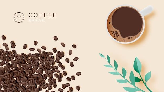 Koffiepauze achtergrond met koffiekopje en pastel kleurenschema