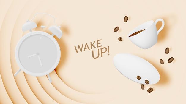 Koffiepauze achtergrond met koffiekopje en wekker en pastelkleurenschema