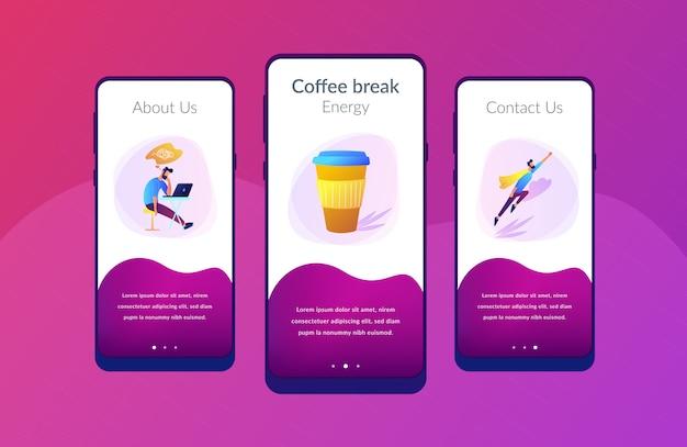 Koffiepauze app interface sjabloon.