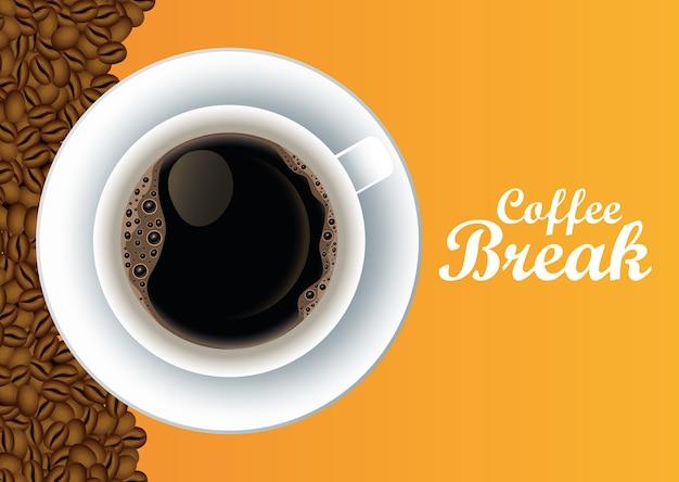 Koffiepauze belettering poster met kop en zaden in geel achtergrond vector illustratie ontwerp