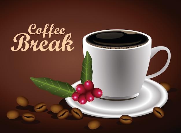 Koffiepauze belettering poster met kopje en zaden natuur vector illustratie ontwerp