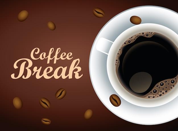 Koffiepauze belettering poster met kopje en zaden vector illustratie ontwerp