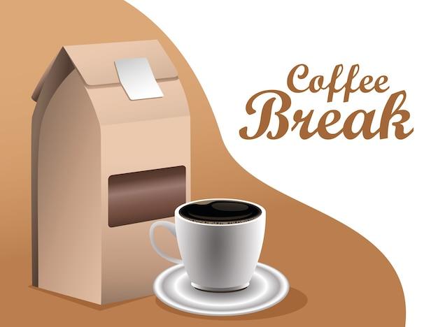 Koffiepauze poster met beker en doos verpakking vector illustratie ontwerp