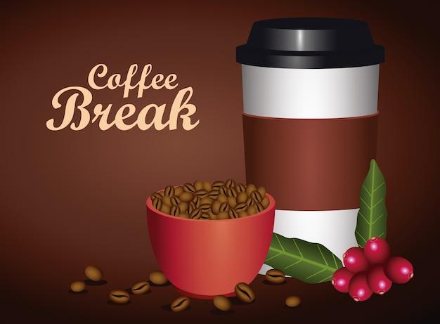 Koffiepauze poster met beker en plastic container vector illustratie ontwerp