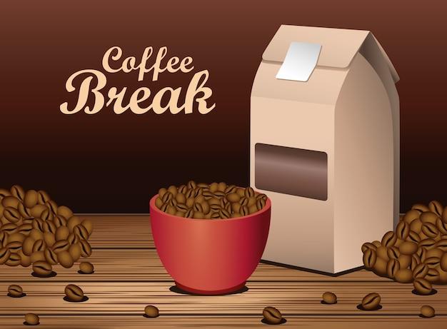 Koffiepauze poster met kop en verpakkingsdoos in houten tafel vector illustratie ontwerp