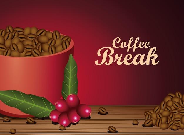 Koffiepauze poster met kopje en zaden natuur vector illustratie ontwerp