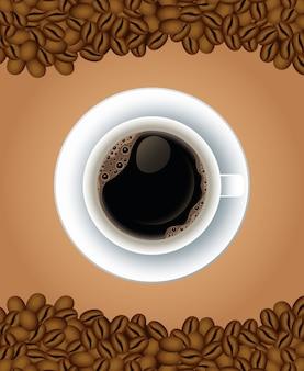 Koffiepauze poster met kopje in schotel en zaden airview vector illustratie ontwerp