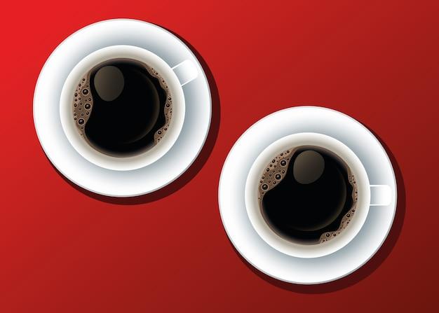 Koffiepauze poster met kopjes dranken vector illustratie ontwerp