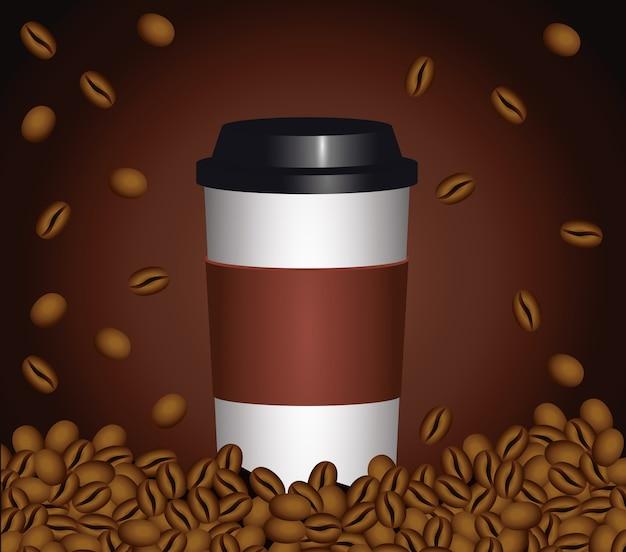 Koffiepauze poster met plastic pot en zaden in bruin achtergrond vector illustratie ontwerp