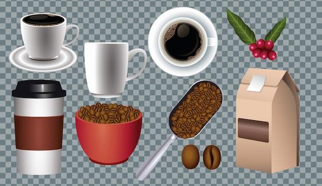 Koffiepauze poster met set pictogrammen in geruit achtergrond vector illustratie ontwerp