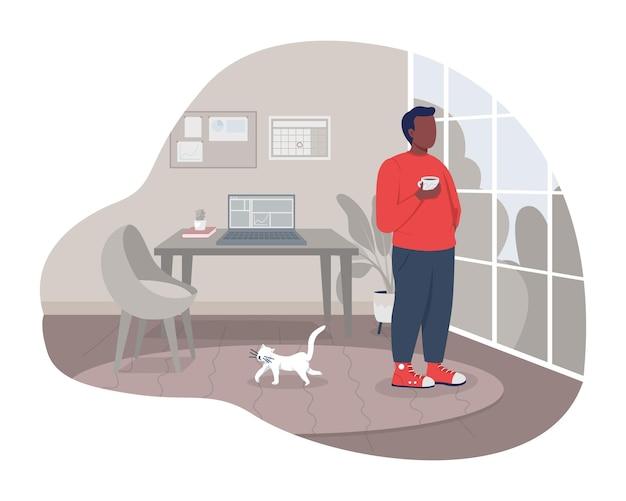 Koffiepauze thuis 2d vector geïsoleerde illustratie