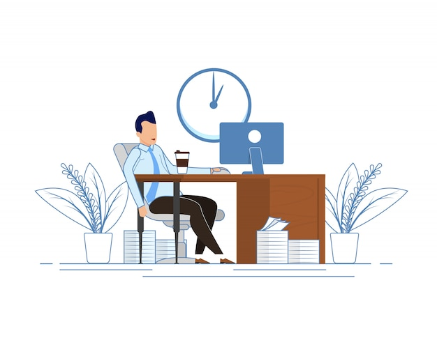 Koffiepauze tijdens kantooruren cartoon.