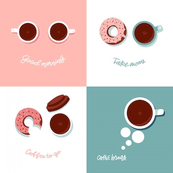 Koffiepauzetijd met doughnut en kop hoogste mening. platte vectorillustratie met grappig gezicht imitatie. belettering citaten - goedemorgen, koffiepauze, afhaal, koffie om te gaan