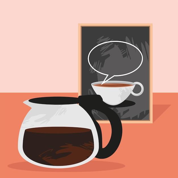 Koffiepot met krijtbord