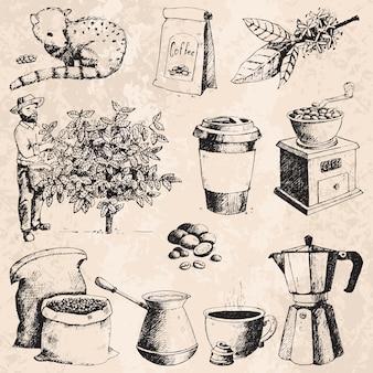 Koffieproductie hand getrokken boer plukken bonen op boom en vintage tekening drinken retro café collectie schets