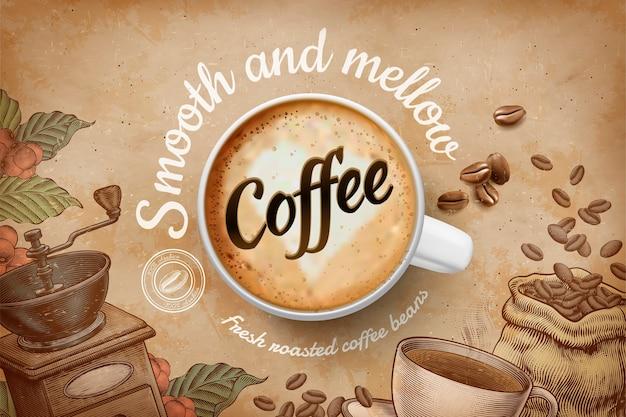 Koffiereclame met bovenaanzicht kopje en gegraveerde retro achtergrond in bruine tint