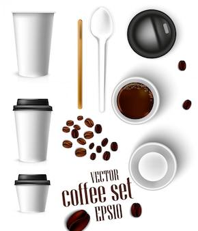 Koffieservies met papieren kopjes koffie verschillende maten, een roerstaafje, een lepel, een plastic zwarte hoes. illustratie. bovenaanzicht en zijaanzicht