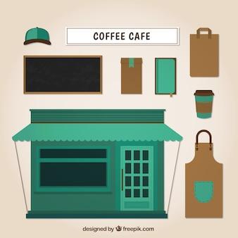 Koffieshop en cafe elementen