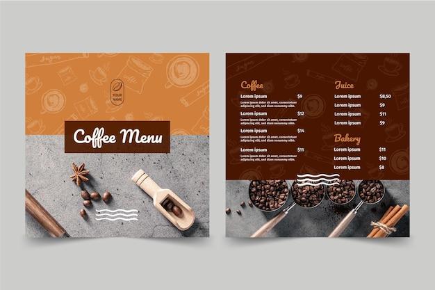 Koffieshop menu