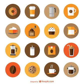 Koffieshop ronde iconen
