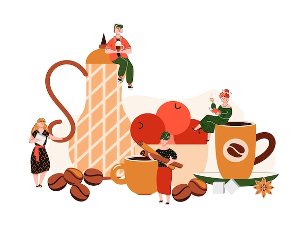 Koffieshop samenstelling met kleine mensen met kopjes en kruiden
