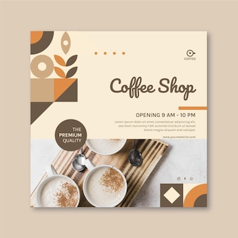 Koffieshop vierkante flyer