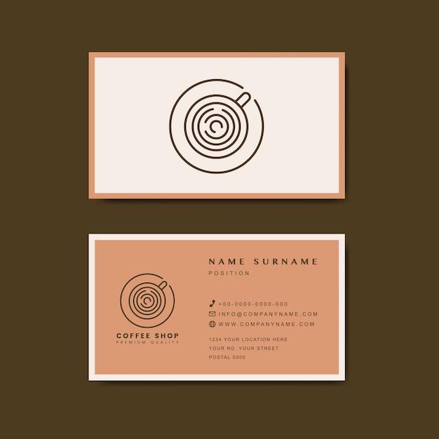 Koffieshop visitekaartje sjabloon vector