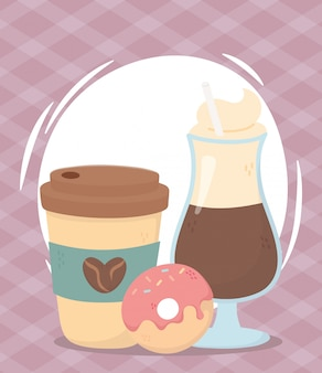 Koffietijd, afhaalmaaltijden latte en verse aromadrank