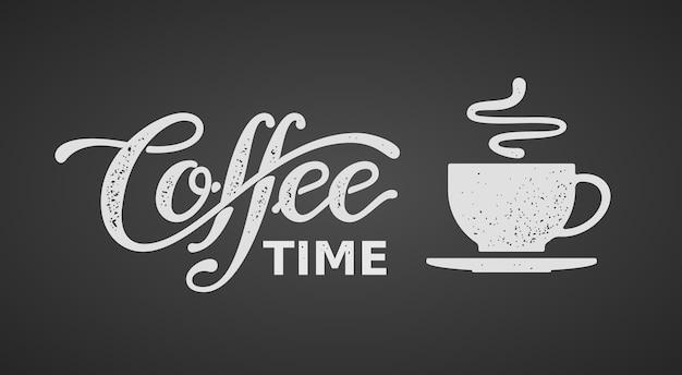 Koffietijd. belettering geïsoleerd op zwarte achtergrond