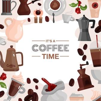Koffietijd decoratief frame dat uit koffie wordt samengesteld