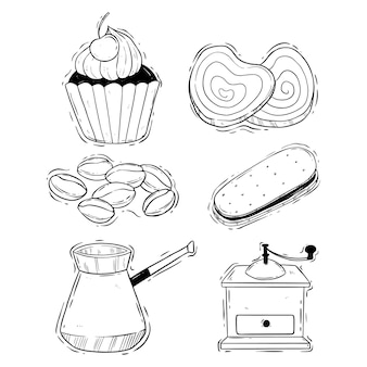 Koffietijd en koekjesillustratie met doodle of handgetekende stijl