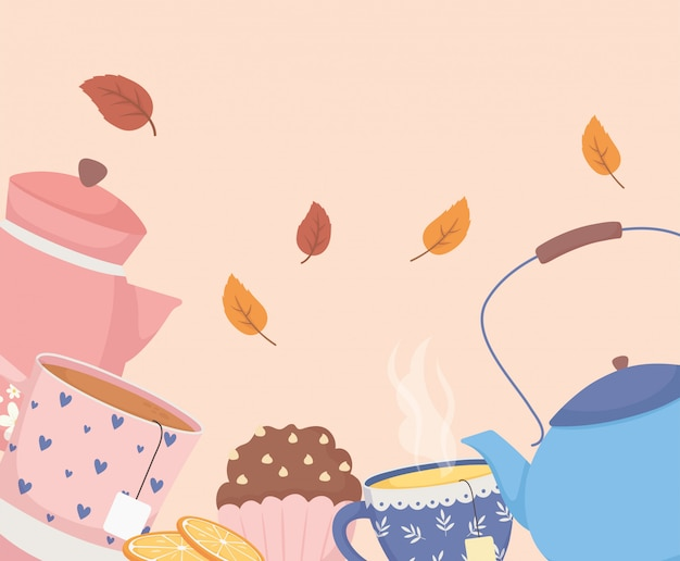 Koffietijd en thee, theepotten cup cupcake en bladeren decoratie