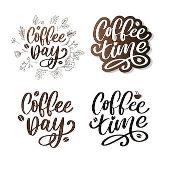Koffietijd hipster vintage gestileerde letters. illustratie