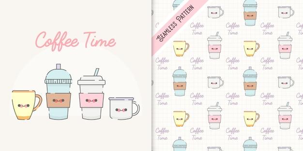 Koffietijd kawaii kopjes illustratie en kopjes naadloze patroon