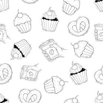 Koffietijd met cupcake in naadloos patroon hand tekenen voedselpatroon