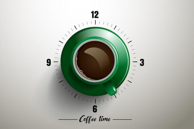 Koffietijd met klokconcept