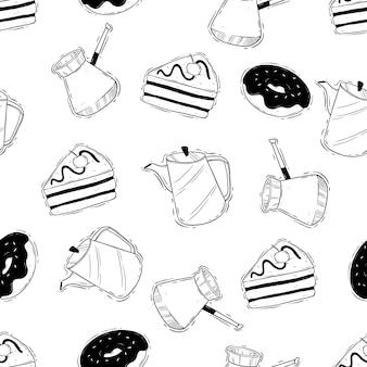 Koffietijd naadloos patroon met dodle of hand-tekenstijl