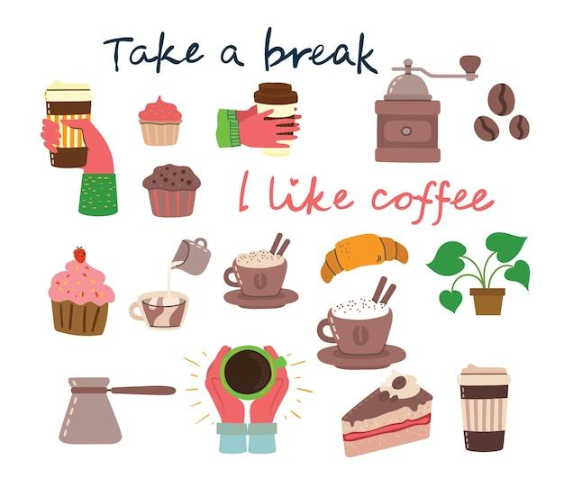 Koffietijd, neem een pauze conceptkaarten