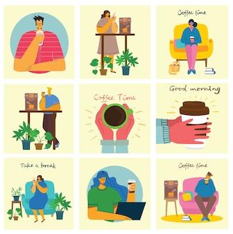 Koffietijd, neem een pauze en ontspan. illustratie in moderne platte ontwerpstijl