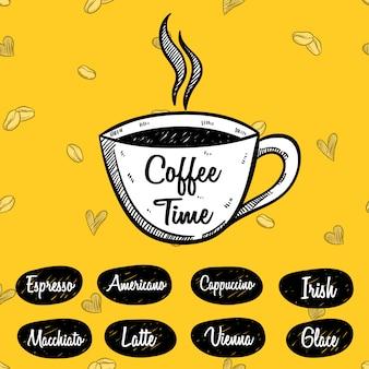 Koffietijd of koffiemenu met schetsmatige stijl op geel