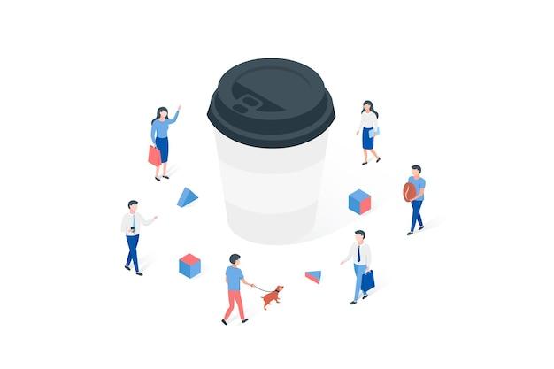 Koffietijd of koffiepauze isometrisch concept.