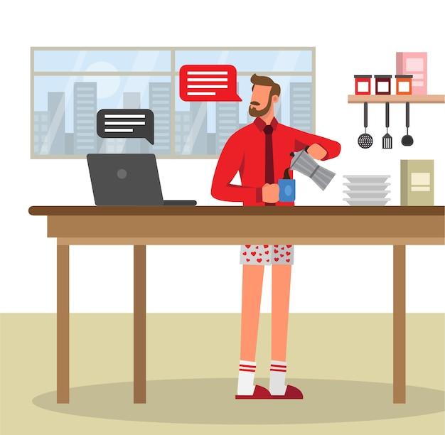 Koffietijd tijdens videogesprek vanuit huis