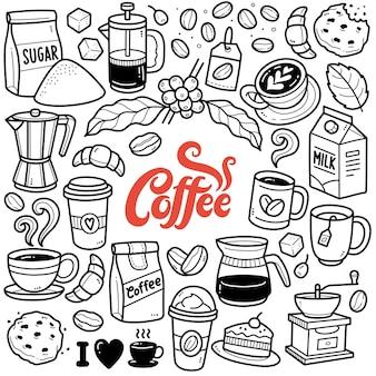 Koffietijd zwart-wit doodle illustratie Premium Vector