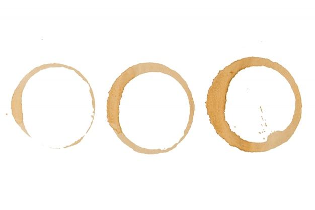 Koffievlekken kopjes - vector geïsoleerde illustraties op wit