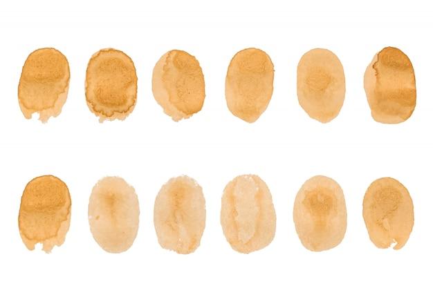 Koffievlekken - vector geïsoleerde illustraties op wit